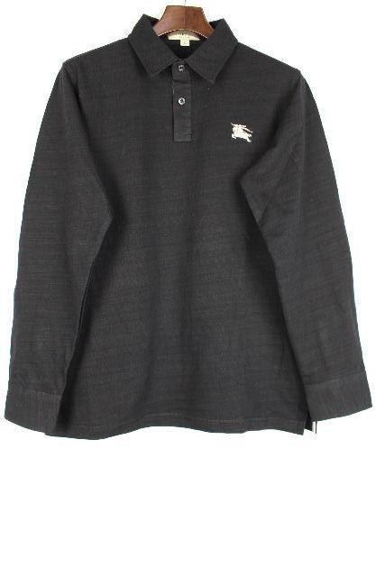 バーバリーロンドン [ BURBERY ] ホースマーク ポロシャツ 黒×チェック柄 長袖 SIZE[L] メンズ トップス カットソー シャツ