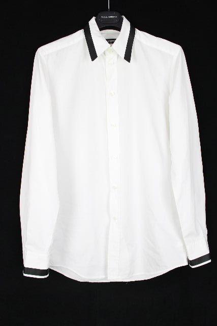 ドルチェ&ガッバーナ [ DOLCE&GABBANA ] DGプレート SlimFit ドレスシャツ 白 長袖 SIZE[15.5/39] メンズ カジュアルシャツ ワイシャツ