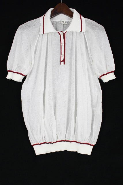 エルメス [ HERMES ] Hロゴ ポロシャツ カットソー ホワイト 白 半袖 SIZE[34] レディース トップス ニット