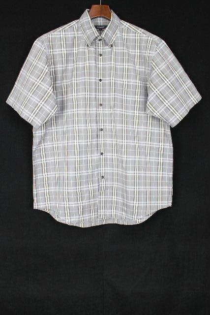 バーバリーロンドン [ Burberry ] ボタンダウン チェック柄 シャツ グレー 半袖 SIZE[2L] メンズ トップス バーバリー