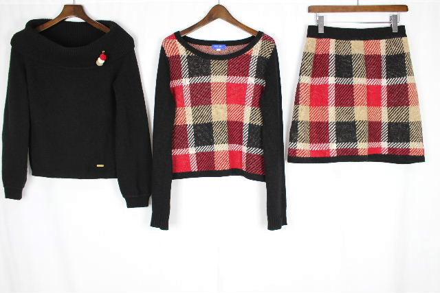 ブルーレーベル クレストブリッジ [ BLUELABEL ] 1st anniversary チェックジャガード 3点セット SIZE[38] ワンピース ニット セーター スカート