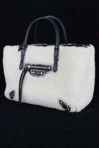 バレンシアガ [ BALENCIAGA ] ボア ファー ミニペーパー ホワイト 白 2WAY [Mini Papier A4 387477]ハンドバッグ ショルダーバッグ