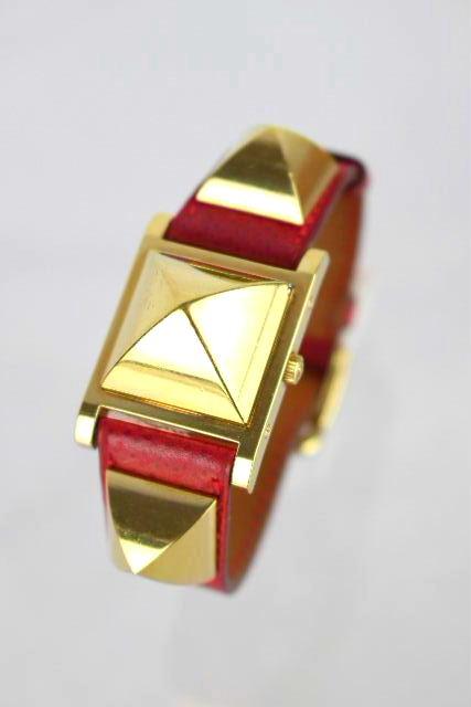 エルメス [ HERMES ] メドール ウオッチ レッド 赤 [Y刻印] レディース ヴィンテージ ビンテージ スタッズ 腕時計
