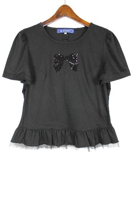 エムズグレイシー [ M'S GRACY ] スパンコール リボン グリル カットソー 半袖 黒 SIZE[40] レディース トップス Tシャツ