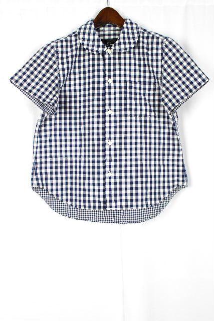 コムデギャルソン [ COMME des GARCONS ] 丸襟 ギンガムチェック シャツ 半袖 紺 白 SIZE[M] レディース トップス ブラウス
