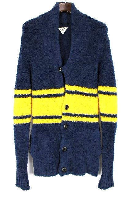 ロンハーマン [ Ron Herman ] パイル地 ボーダー ジャケット 紺×黄色 SIZE[M] メンズ トップス ロングカーディガン カーデ