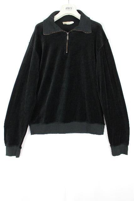 エンポリオアルマーニ [ ARMANI ] ジップアップ ベロア カットソー ブラック 黒 長袖 SIZE[L] メンズ トップス
