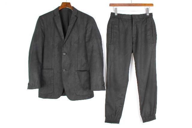 セオリー [ Theory ] カモフラージュ セットアップ スーツ 黒 SIZE[36] メンズ 男性用 ジャケット ジョガーパンツ テーパード