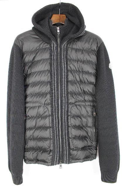 モンクレール [ MONCLER ] 2015AW フード付き ニット ダウンジャケット 黒 SIZE[L] メンズ セーター ダウンコート パーカー