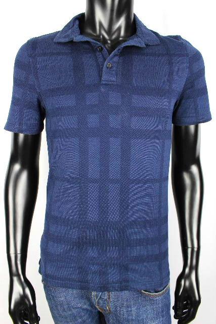 バーバリーロンドン [ BURBERRY LONDON ] チェック柄 ポロシャツ ブルー 青 半袖 SIZE[S] メンズ トップス カットソー