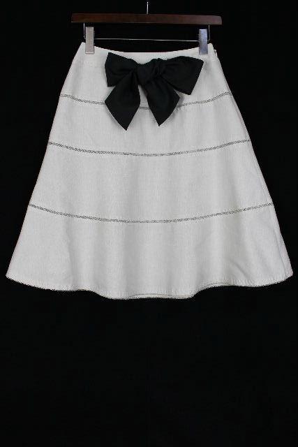 トゥービーシック [ TOBECHIC ] リボン フレアースカート ベージュ×黒 SIZE[40] レディース ボトムス スカート