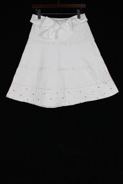 トゥービーシック [ TOBECHIC ] リボン デニムスカート ホワイト 白 SIZE[38] レディース ボトムス フレアースカート