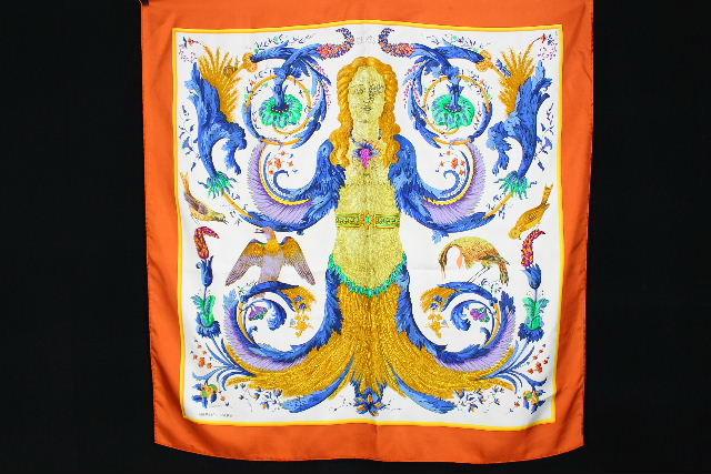 エルメス [ HERMES ] カレ CERES 女神ケレス シルク スカーフ オレンジ×白