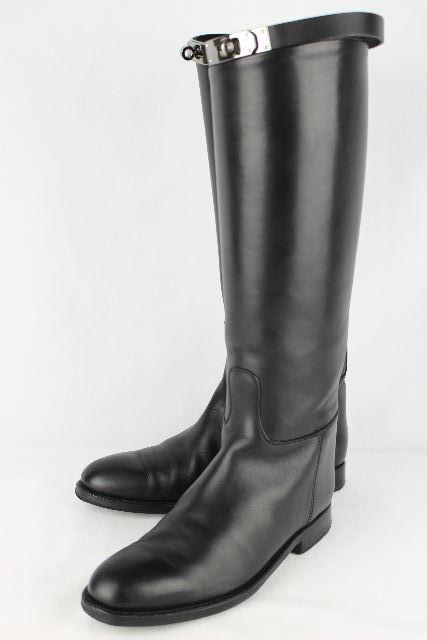 エルメス [ HERMES ] ジャンピングブーツ ブラック 黒 SIZE[37] レザー ロングブーツ ジョッキーブーツ 乗馬ブーツ