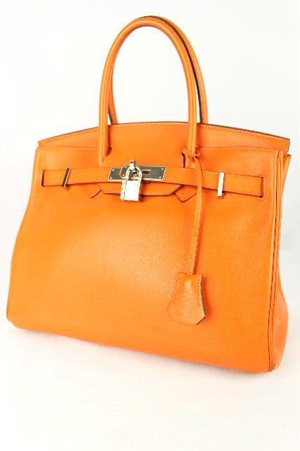 エルメス [ HERMES ] バーキン30 ボックスカーフ オレンジ×シルバー金具 ハンドバッグ □K刻印