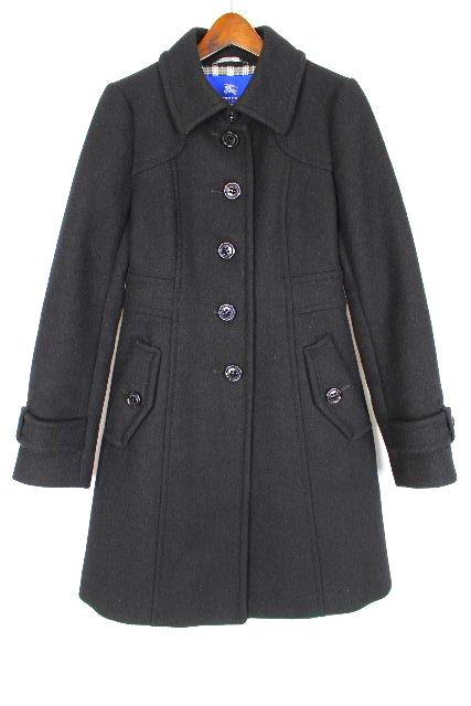 バーバリーブルーレーベル [ Burberry ] ウール コート ブラック 黒×チェック柄 SIZE[38] レディース アウター