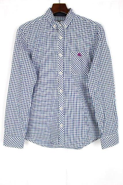 バーバリーブラックレーベル [ BURBERRY ] ホースマーク チェック柄 カジュアルシャツ SIZE[2] メンズ トップス ボタンダウンシャツ 長袖
