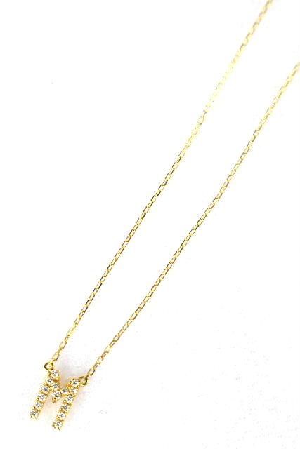 アーカー[ AHKAH ] イニシャルM ダイヤ ネックレス K18×0.05ct チョーカー ペンダント