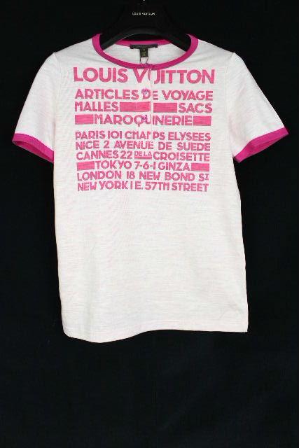 ルイヴィトン [ LOUISVUITTON ] ロゴ ヘンリーネック カットソー ピンク 半袖 SIZE[S] レディース トップス Tシャツ