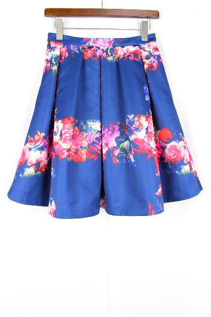 エムエスジーエム [ MSGM ] バラ柄 フレアースカート ブルー 青色 SIZE[40] レディース ボトムス スカート 薔薇柄