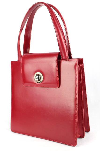 ブルガリ [ BVLGARI ] ターンロック エナメル ハンドバッグ レッド 赤 パーティバッグ