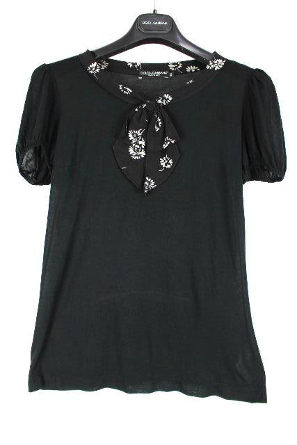 ドルチェ&ガッバーナ [ DOLCE&GABBANA ] リボン スカーフ ニット セーター ブラック 黒 SIZE[38] レディース トップス カットソー