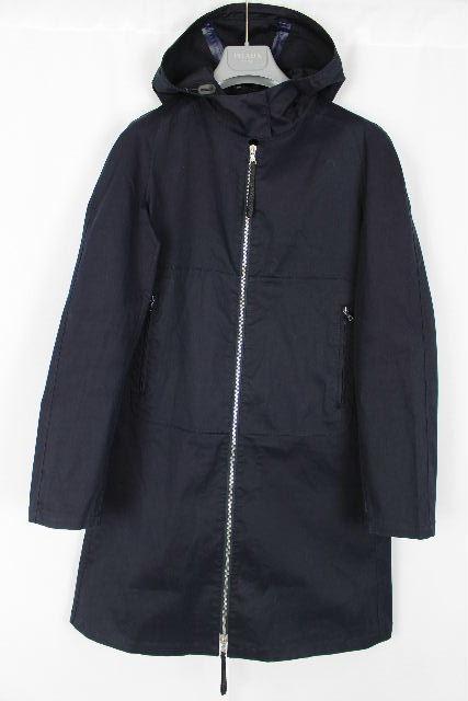プラダ [ PRADA ] フード付き トレンチコート ネイビー 紺色 SIZE[42] レディース コート スプリングコート