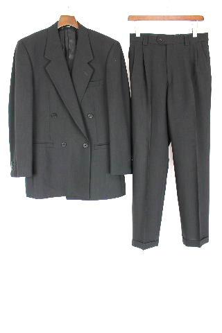 ヴェルサーチ [ VERSACE CLASSIC ] ダブル ボタン スーツ ブラック 黒 メンズ Wボタン ジャケット スラックスパンツ