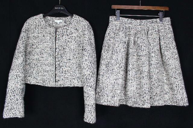 ポールカ [ PAULE KA ] ツイード セットアップ スーツ SIZE[38] レディース ノーカラージャケット フレアースカート