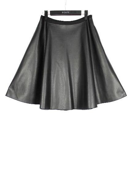 フォクシー NY [ FOXEY ] ストレッチレザースカート ブラック 黒 SIZE[40] レディース コレクションライン フレアースカート スカート