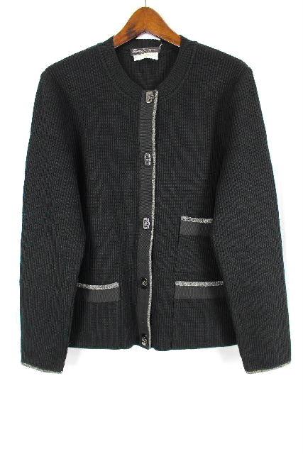 フェラガモ [ Ferragamo ] ガンチーニ ニット ロングカーディガン 黒 SIZE[L] レディース ジャケット コート