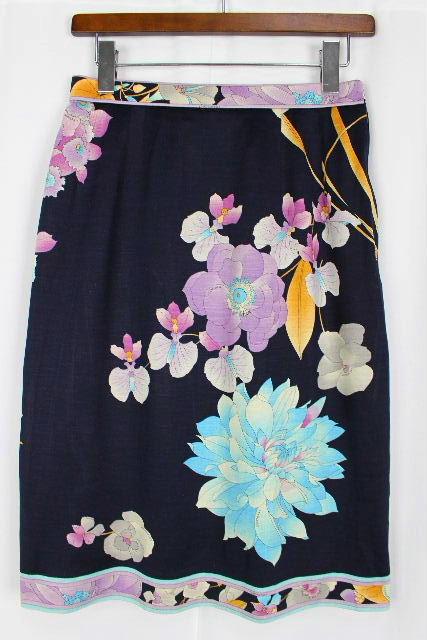 レオナール [ LEONARD ] フラワー スカート ネイビー 紺色 SIZE[70] レディース ボトムス 花柄