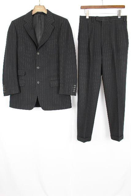 グッチ [ GUCCI ] 3釦 ストライプ ウール シングル スーツ 黒 SIZE[46] メンズ 紳士用 ジャケット スラックスパンツ