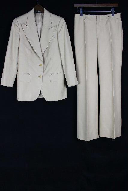 グッチ [ GUCCI ] シルク セットアップスーツ ベージュ SIZE[38] レディース テーラードジャケット パンツ