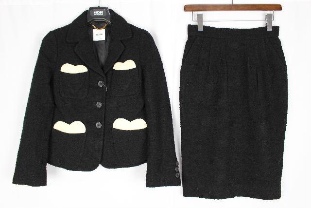 モスキーノ [ MOSCHINO ] ハート ツイード セットアップ スーツ 黒 SIZE[38] レディース ジャケット スカート