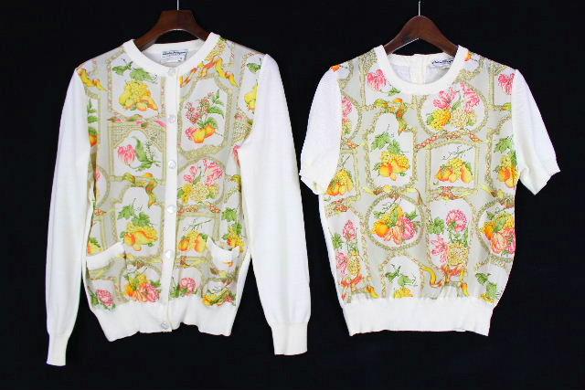 フェラガモ [ Ferragamo ] スカーフ アンサンブル ニット 白 長袖 SIZE[S] レディース カーディガン カーデ セーター 半袖