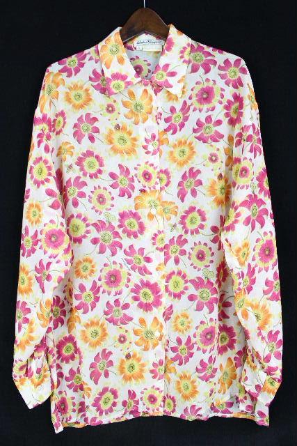 フェラガモ [ Ferragamo ] ロゴ シースルー フラワー シャツ ブラウス 長袖 SIZE[S] レディース トップス 花柄