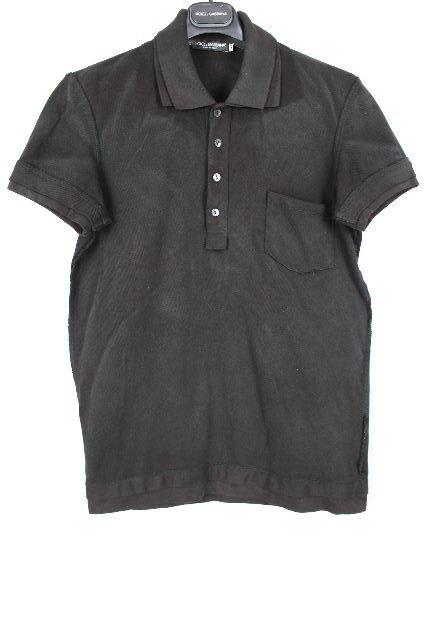 ドルチェ&ガッバーナ [ DOLCE&GABBANA ] ユーズド加工 重ね着 ポロシャツ 黒 半袖 SIZE[44] メンズ トップス カットソー