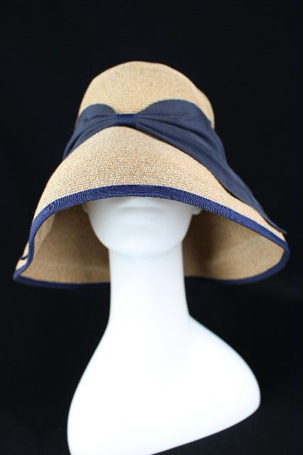 アシーナニューヨーク [ ATHENA New York ] リボン ハット 帽子 ネイビー 紺色 ストロー 麦わら帽子