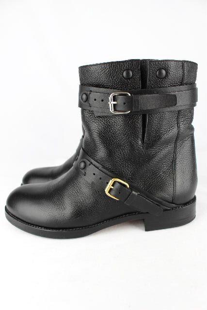 クロエ [ Chloe ] レザー エンジニアブーツ ブラック 黒 SIZE[37.5] レディース ショートブーツ ブーツ