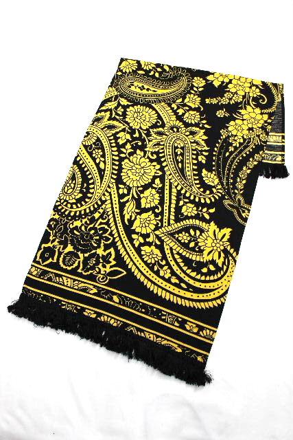レオナール [ LEONARD ] フラワー フリンジ ストール ショール 黒 黄色 レディース マフラー 花柄