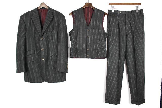ゼニア生地 [ Zegna ] 3ボタン ウール ベスト ストライプシングル 3点 スーツ [M相当]メンズ ジャケット スラックスパンツ
