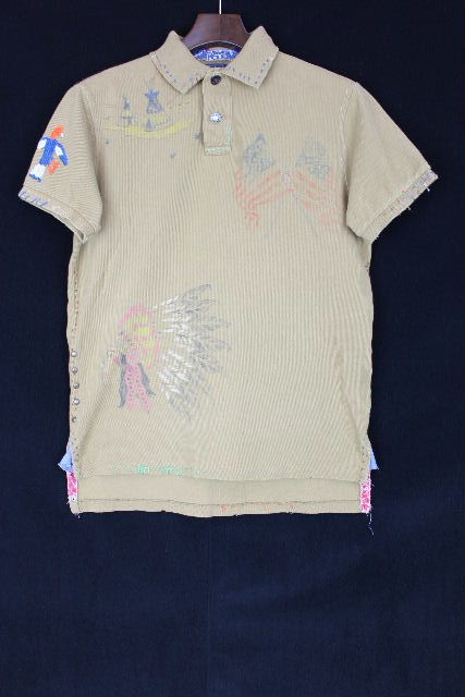 ラルフローレン [ Ralph Lauren ] インディアン リメイク CUSTOM FIT ポロシャツ 半袖[S] メンズ トップス スタッズ カットソー カーキ系