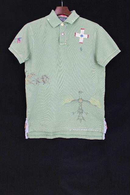 ラルフローレン [ Ralph Lauren ] インディアン リメイク CUSTOM FIT ポロシャツ 半袖[S] メンズ トップス スタッズ カットソー グリーン系