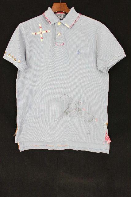 ラルフローレン [ Ralph Lauren ] インディアン リメイク CUSTOM FIT ポロシャツ 半袖[S] メンズ トップス コンチョ カットソー ブルー
