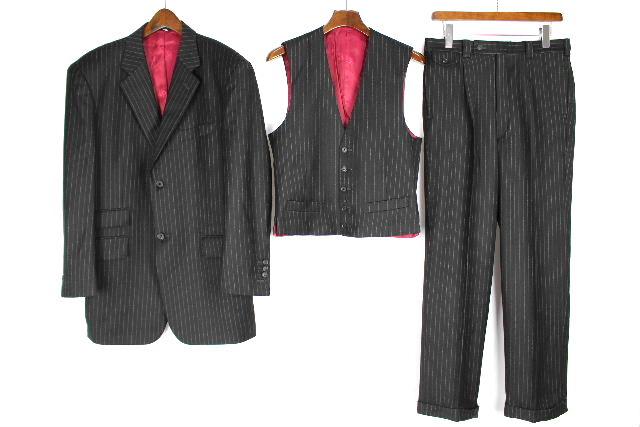 ゼニア×ロロピアーナ カシミヤ混 3ボタン ウール ベスト シングル 3点 スーツ [M相当]メンズ ジャケット スラックスパンツ