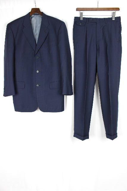 ゼニア生地 [ Ermenegildo Zegna ] 3ボタン シングル スーツ 紺色 SIZE[M相当] メンズ ジャケット スラックスパンツ