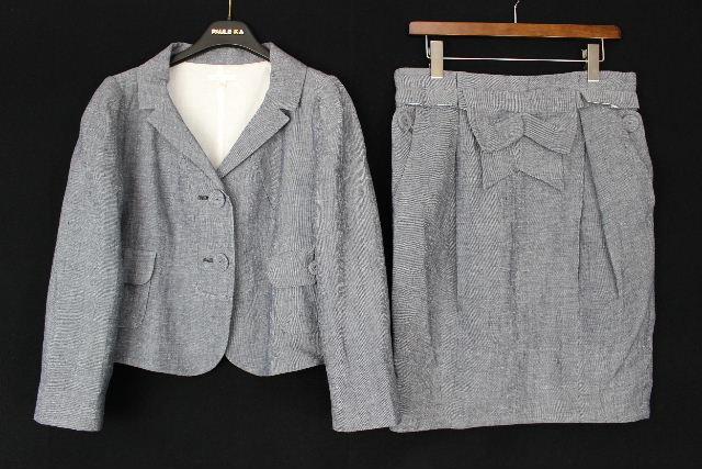 ポールカ [ PAULE KA ] リネン リボン スカート スーツ SIZE[40] レディース ジャケット セットアップスーツ