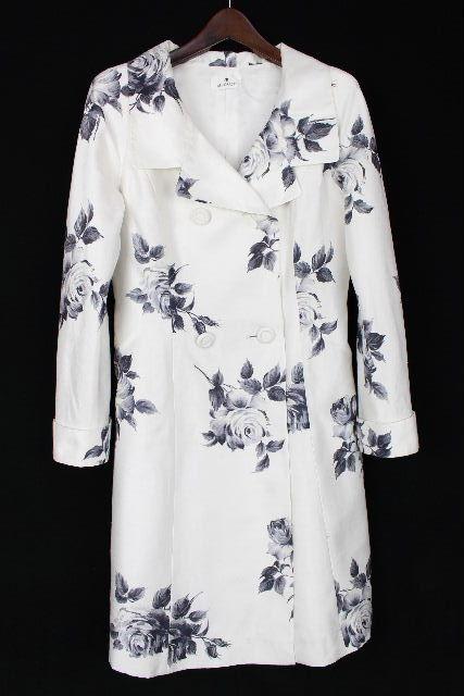エムズグレイシー [ MS GRACY ] バラ柄 トレンチコート ホワイト 白 SIZE[9号]レディース スプリングコート 薔薇柄