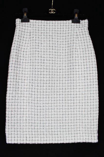 シャネル [ CHANEL ]16S チェック柄 タイトスカート ホワイト 白 SIZE[36] レディース ボトムス スカート ★定価147960円★